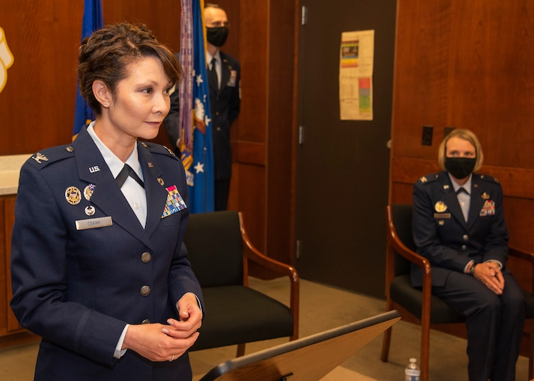 U.S. Air Force Col. Patricia Csànk gives her farewell speech during the 673d Air Base Wing change of command ceremony at Joint Base Elmendorf-Richardson, Alaska, July 14, 2020. The 673d ABW is composed of a command section, the 673d Comptroller Squadron, and four groups; the 673d Mission Support Group, the 673d Medical Group, 673d Civil Engineer Group, and the 673d Logistics Readiness Group. These are the primary organizations responsible for providing installation management functions to ensure JBER remains America's premier strategic power projection platform. The wing supports and enables three AF total-force wings, one Army brigade and 55 tenant units. The change of command ceremony was adapted to comply with COVID-19 health and safety measures.