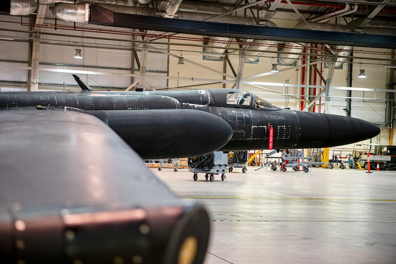 A U-2 Dragon Lady rests in a hangar at RAF Fairford, England, July 7, 2020. The U-2 aircraft assigned to the 9th Reconnaissance Wing, Beale Air Force Base, Calif., are currently deployed to RAF Fairford as part of the 99th Expeditionary Reconnaissance Squadron. The aircraft supplements a variety of missions that enhance regional and global security in support of U.S. and NATO allies and regional partners. (U.S. Air Force photo by Senior Airman Eugene Oliver)