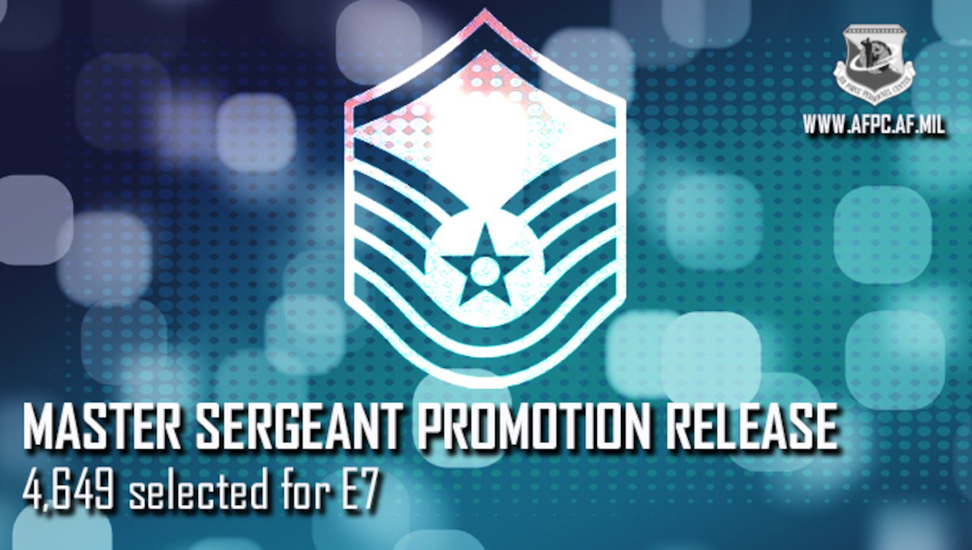 Blue graphic with master sergeant stripes