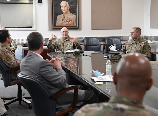 Gen. Arnold W. Bunch Jr., center, commander, Air Force Materiel Command, initiates a discussion about diversity and inclusion with Arnold Engineering Development Complex (AEDC) senior leadership, July 8, 2020, at Arnold Air Force Base, Tenn., headquarters of AEDC. Also pictured, Chief Master Sgt. Stanley Cadell, right, command chief, Air Force Materiel Command. Bunch and Cadell also held a diversity and inclusion discussion session with members of Team AEDC, including uniformed Airmen, DOD civilians and contractors. (U.S. Air Force photo by Jill Pickett)