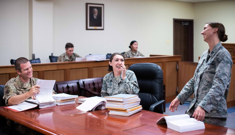 Lawyers from the 18th Wing Office of the Staff Judge Advocate share stories at work.