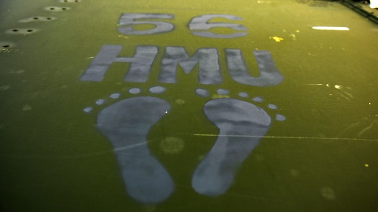 Jolly green foot prints represent the 56th Helicopter Maintenance Unit at Aviano Air Base, Italy, July 14, 2020. The 56th HMU renovated various section in hangar three. (U.S. Air Force photo by Airman 1st Class Ericka A. Woolever)