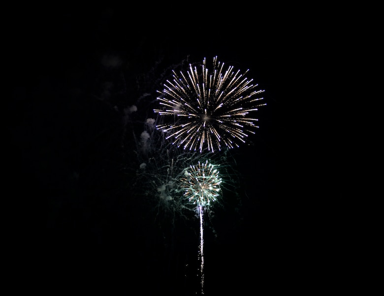 Fireworks light up the night sky over Columbus Air Force Base, Miss. during the BLAZE Fest Fireworks show, July 3, 2020. The 20-minute fireworks show was livestreamed on Facebook live to allow as much participation in the Independence Day holiday while practicing safe social distancing procedures. (U.S. Air Force photo by Airman 1st Class Hannah Bean)