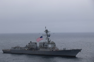 USS Halsey performs a passing exercise with the Ecuadorian Navy.