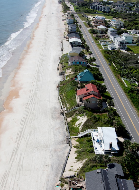 Photo of St. Johns County shoreline with Highway A1A. The Jacksonville District announced the award of a $15 million contract July 7, 2020, to execute a coastal storm risk management project to reinforce critically eroded sections of beach front.