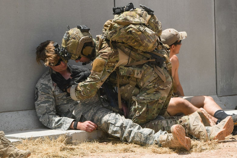 A photo of Airmen performing medical training