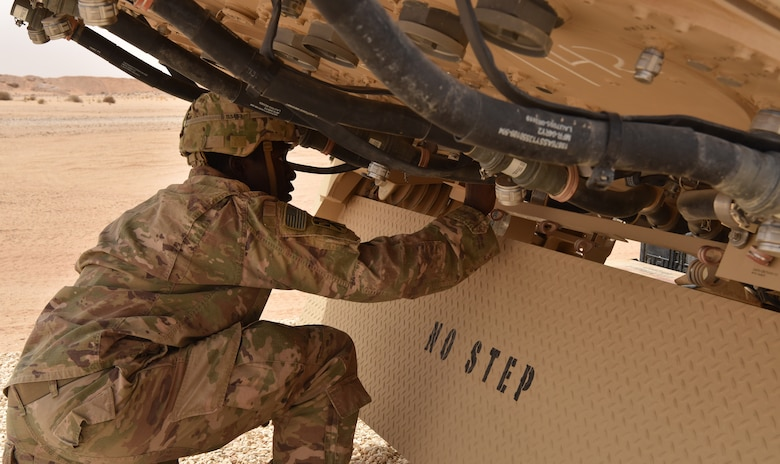 S. Army Soldiers from Bravo Battery, 2nd Air Defense Artillery Regiment system checks a Terminal High Altitude Area Defense (THAAD) launcher during routine start up procedures in the U.S. Central Command's area of responsibility.