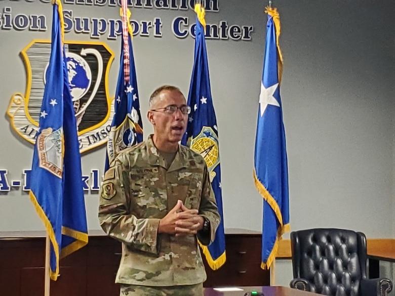 Photo of Maj. Gen. Tom Wilcox giving remarks