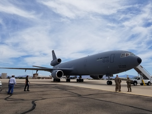 A KC-10 from the 305th Air Mobility Wing at Joint Base McGuire-Dix-Lakehurst, New Jersey, landed at Davis-Monthan Air Force Base, July 13, to begin the storage process at the 309th Aerospace Maintenance and Regeneration Group (AMARG) on base. (Courtesy photo)
