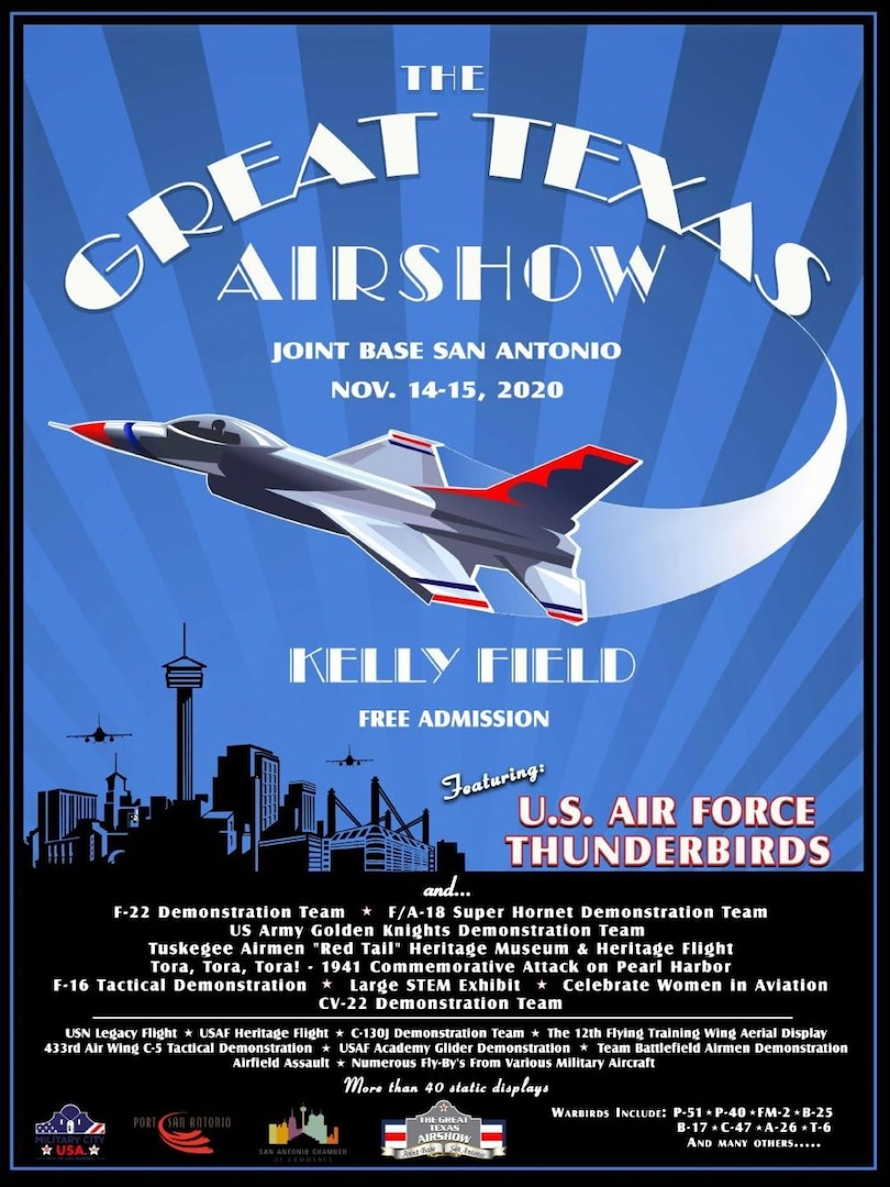 As Joint Base San Antonio continues to align COVID-19 prevention efforts with the City of San Antonio and to reduce the spread of the virus, the JBSA Airshow scheduled for November will not take place this year.