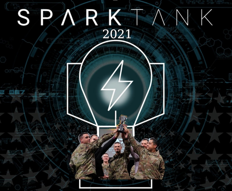 black graphic with light bulb and Airmen holding up trophy