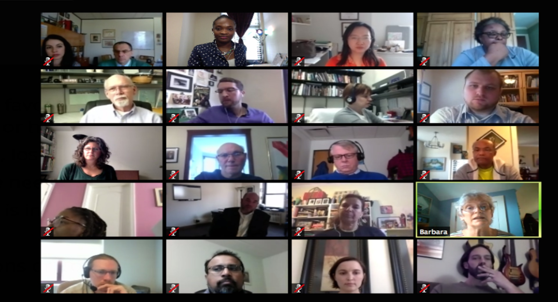 screenshot of 16 students listening to the instructor during a virtual class