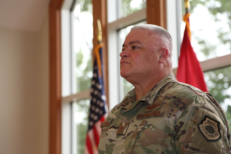 A promotion and assumption of duty ceremony was held for Brig. Gen. Kenneth S. Eaves at the Ike Skelton Training Site in Jefferson City, Mo. on July 15, 2020. Eaves is the Assistant Adjutant General for the State of Missouri, and commands the state's more than 2,300 Airmen. (U.S. National Guard photo by Spc. Christopher Saunders)