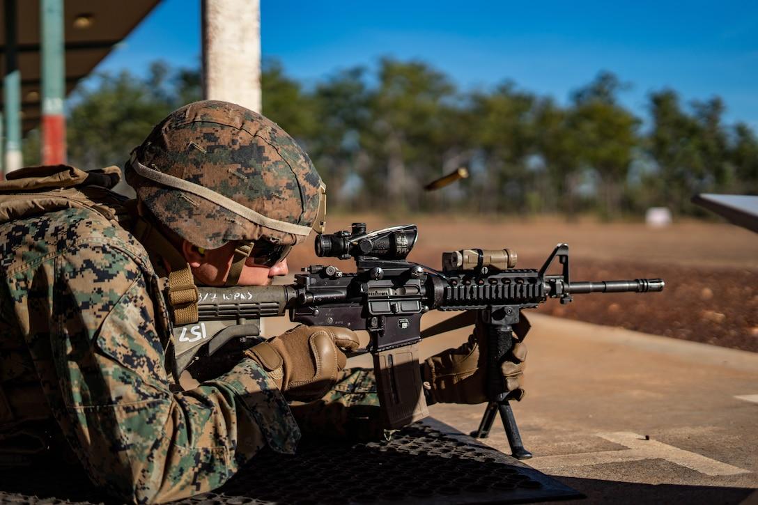 A U.S. Marine zeroes his rifle on Robertson Barracks, NT, Australia, July 14.