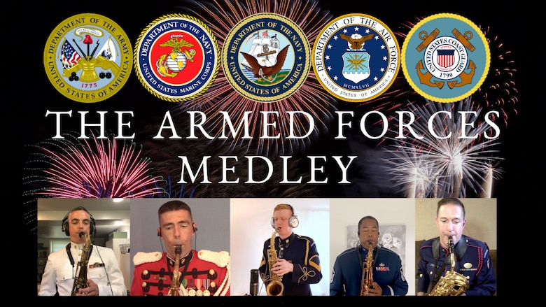 "Graphic for a collaboration between the Airmen of Note and 4 sister service bands of a 4th of July performance of the ""Armed Forces Medley""."