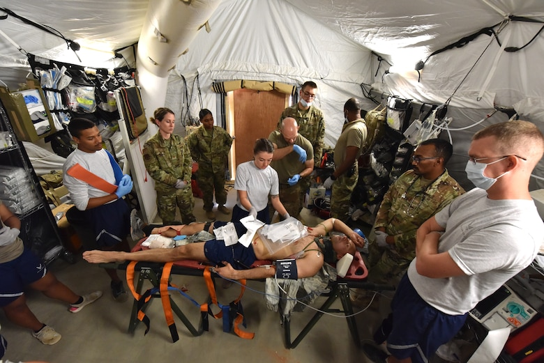 The 378th Expeditionary Medical Squadron conducted a trauma response exercise to practice its response, mitigation, treatment and evacuation of critically injured patients at Prince Sultan Air Base, Kingdom of Saudi Arabia.