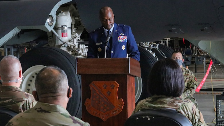 Brig. Gen. Kenyon Bell addresses audience at the 82nd Training Group change of command