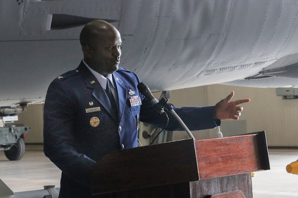 Col. John Lofton III addresses small group at change of command