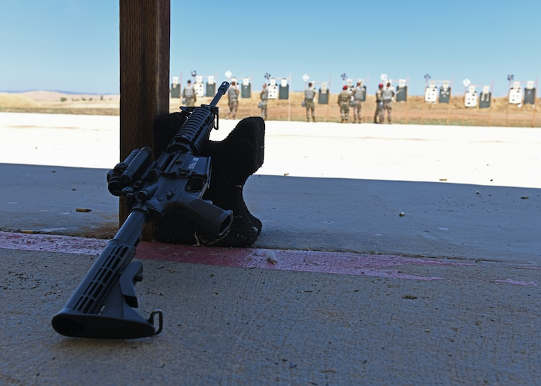 An M4 Carbine lays on a shooting rest during a Combat Arms Training and Maintenance (CATM) course, June 22, 2020, at Beale Air Force Base California. CATM instructors teach Airmen how to properly use, disassemble, and clean a weapon safely. (U.S. Air Force photo by Airman 1st Class Luis A. Ruiz-Vazquez)