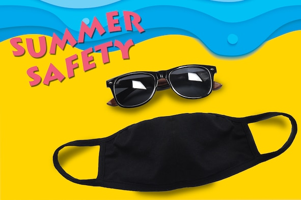 A summer safety graphic. The top of the image is a blue wave. The bottom is yellow sand. There is a diagonal title Summer Safety in the top left corner. There is a black pair of glasses and a black mask over the yellow sand.