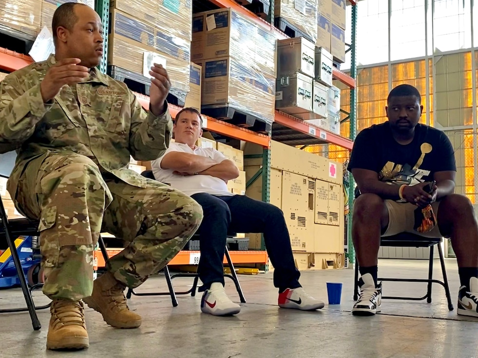 Master Sgt. William Jackson, 15th Medical Group superintendent, leads a support group with a focus on race in the military July 2, 2020, in the 15th MDG Logistics Warehouse on Joint Base Pearl Harbor-Hickam, Hawaii. Jackson saw a need for Airmen to discuss racial injustice and created a group that he plans to grow to include the entire base. (U.S. Air Force photo by 2nd Lt. Amber R. Kelly-Herard)