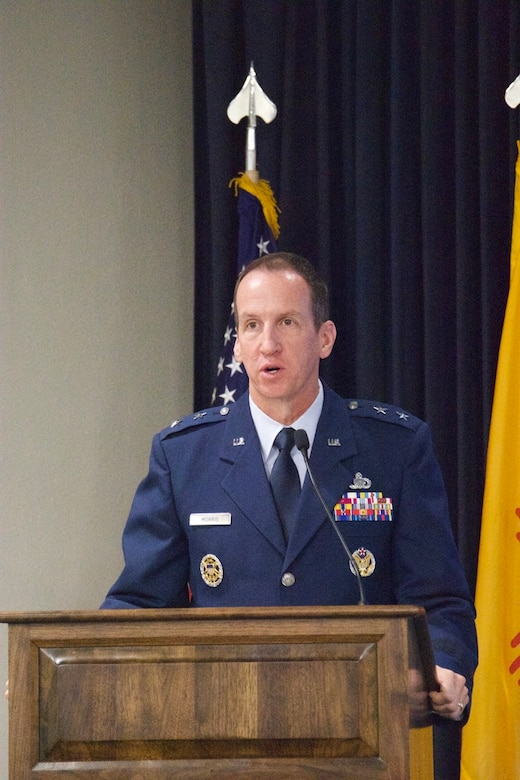 Maj. Gen. Shaun Q. Morris speaks on his departure as Air Force Nuclear Weapons Center commander at the change-of-command ceremony. (Air Force photo by Capt. Matthew Rice)