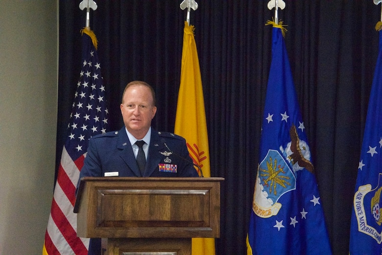 "Brig. Gen. Anthony W. ""Awgie"" Genatempo speaks as he assumes command of the Air Force Nuclear Weapons Center at the change-of-command ceremony. (Air Force photo by Capt. Matthew Rice)"