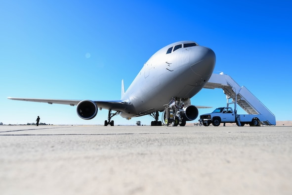 A KC-46A Pegasus assigned to McConnell Air Force Base, Kansas sits on the flightline July 11, 2020 at Travis Air Force Base, California. After six flights and 17 hours of total flying time, the successful aeromedical evacuation mission marked a key milestone in the progress of the KC-46 Initial Operational Test and Evaluation. (U.S. Air Force photo by Airman 1st Class Nilsa Garcia)