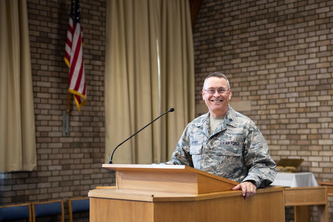 U.S. Air Force Lt. Col. Jerry Sather, 501st Combat Support Wing chaplain, poses for a photo at the base chapel at RAF Alconbury, England, July 15, 2020. After 41 years of military service, Sather shared his experiences and his reflection on diversity in the military. (U.S. Air Force photo by Airman 1st Class Jennifer Zima)