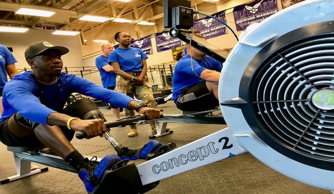Staff Sgt. Kevin Greene rowing during one of many CARE Events the Air Force Wounded Warrior Program (AFW2) held across the nation.