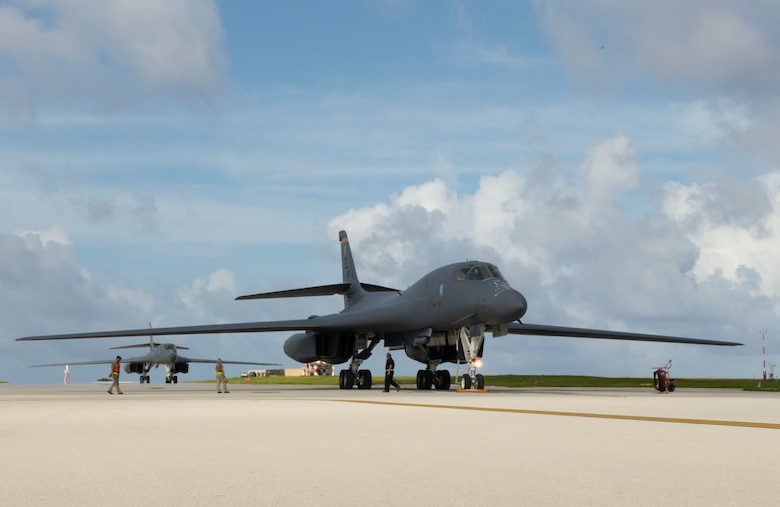 Two B-1B Lancers, assigned to the 28th Bomb Wing, Ellsworth Air Force Base, S.D., arrive at Andersen Air Force Base, Guam, as part of a Bomber Task Force deployment, July 17, 2020. Approximately 170 Airmen and two B-1s deployed to the Indo-Pacific in support of the BTF.(U.S. Air Force Photo by Airman 1st Class Christina Bennett)