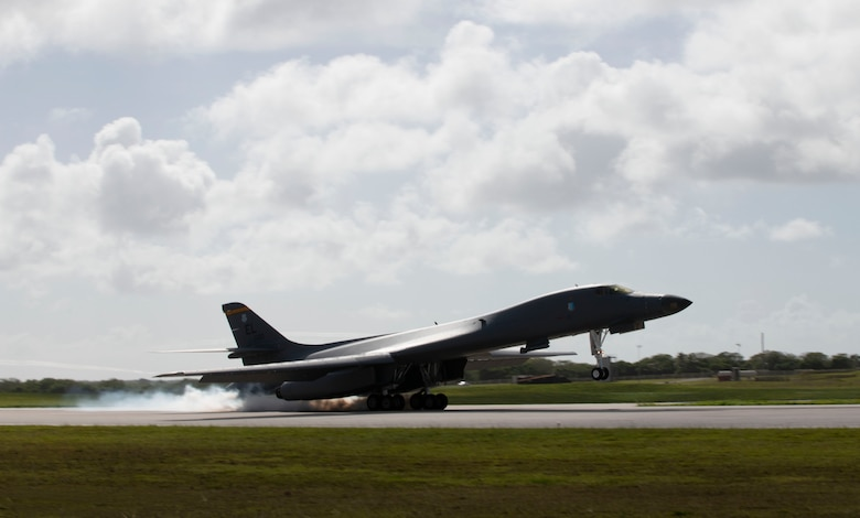 A B-1B Lancer, deployed from Ellsworth Air Force Base, S.D., lands at Andersen AFB, Guam, July 17, 2020. The Bomber Task Force is deployed to Andersen AFB in support of Pacific Air Forces' training efforts with allies, partners and joint forces. (U.S. Air Force Photo by Airman 1st Class Christina Bennett)