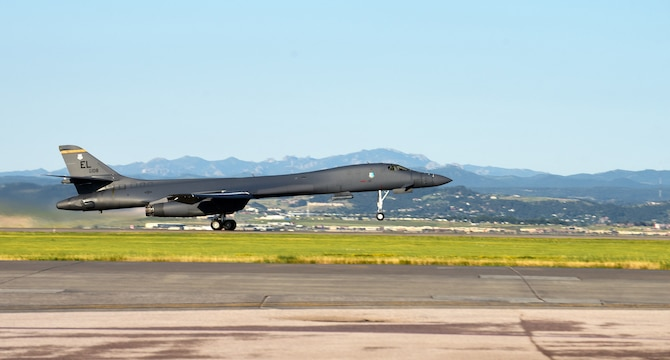 A B-1B Lancer assigned to the 37th Bomb Squadron launches from Ellsworth Air Force Base, S.D., for a Bomber Task Force deployment to the U.S. Indo-Pacific Command area of responsibility July 16, 2020. The U.S. security presence, along with allies and partners, underpins the peace and stability that has enabled the Indo-Pacific region to develop and prosper for more than seven decades. (U.S. Air Force photo by Airman 1st Class Quentin K. Marx)