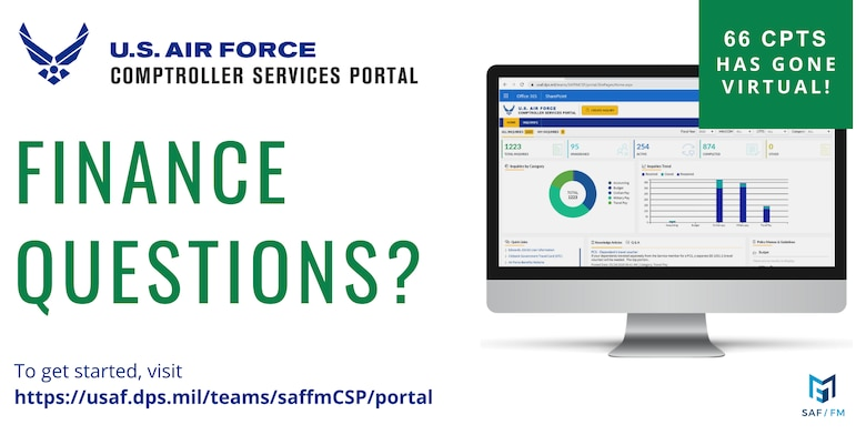 The Air Force Comptroller Services Portal is now live for use at Hanscom. The new platform allows customers to submit, review, and track customer service requests through the 66th Comptroller Squadron. (courtesy graphic)