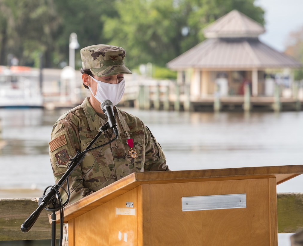 U.S Air Force Col. Marcia Quigley, outgoing 81st Mission Support Group commander, speaks during the 81st MSG Change of Command at the Marina Park at Keesler Air Force Base, Mississippi, July 16, 2020. The ceremony is a symbol of command being exchanged from one commander to the next by the handing-off of a ceremonial guidon.  (U.S. Air Force Photo by Andre' Askew)