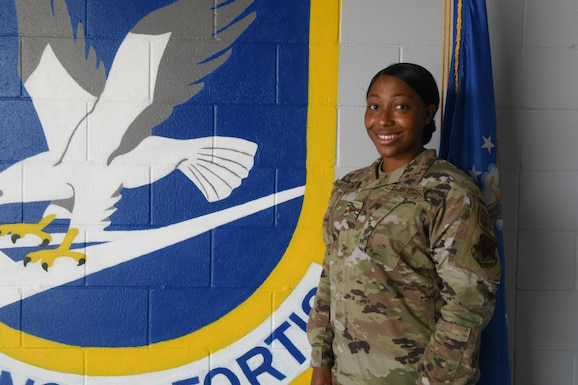 U.S. Air Force Staff Sgt. Candis Mathews poses for a picture at Tyndall Air Force Base, Florida, July 13, 2020. Mathews received the Angel Award for her volunteer work in Tyndall's community. (U.S. Air Force photo by Airman Anabel Del Valle)