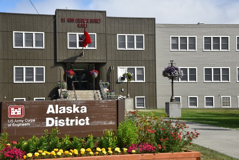 Workers completed the front of the Alaska District's headquarters at the end of June.