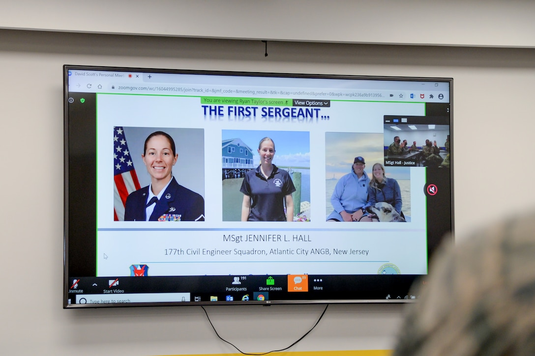 A photo of a First Sergeant Academy virtual graduation ceremony.