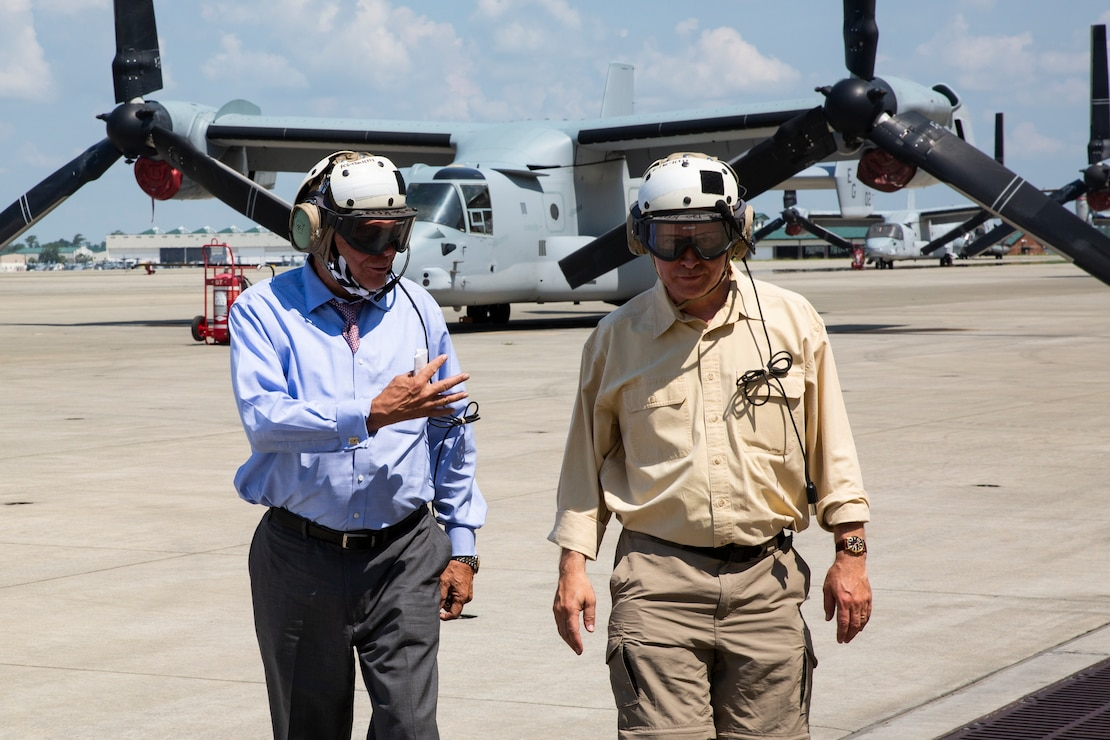 Charles A. Williams, Jr., assistant secretary of the Navy for Energy, Installations and Environment, looks out the back of a MV-22 Osprey during a tour of Marine Corps Base Camp Lejeune and Marine Corps Air Station New River, July 15, 2020. Williams visited MCB Camp Lejeune and MCAS New River to receive an update on military construction from installation leaders and view hurricane related repairs to facilities and family housing currently in progress. (U.S. Marine Corps photo by LCpl. Christian Ayers)