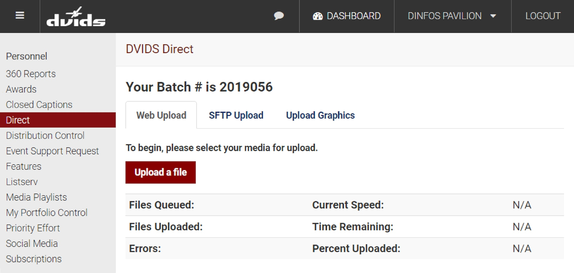 Screenshot of DVIDS log in page