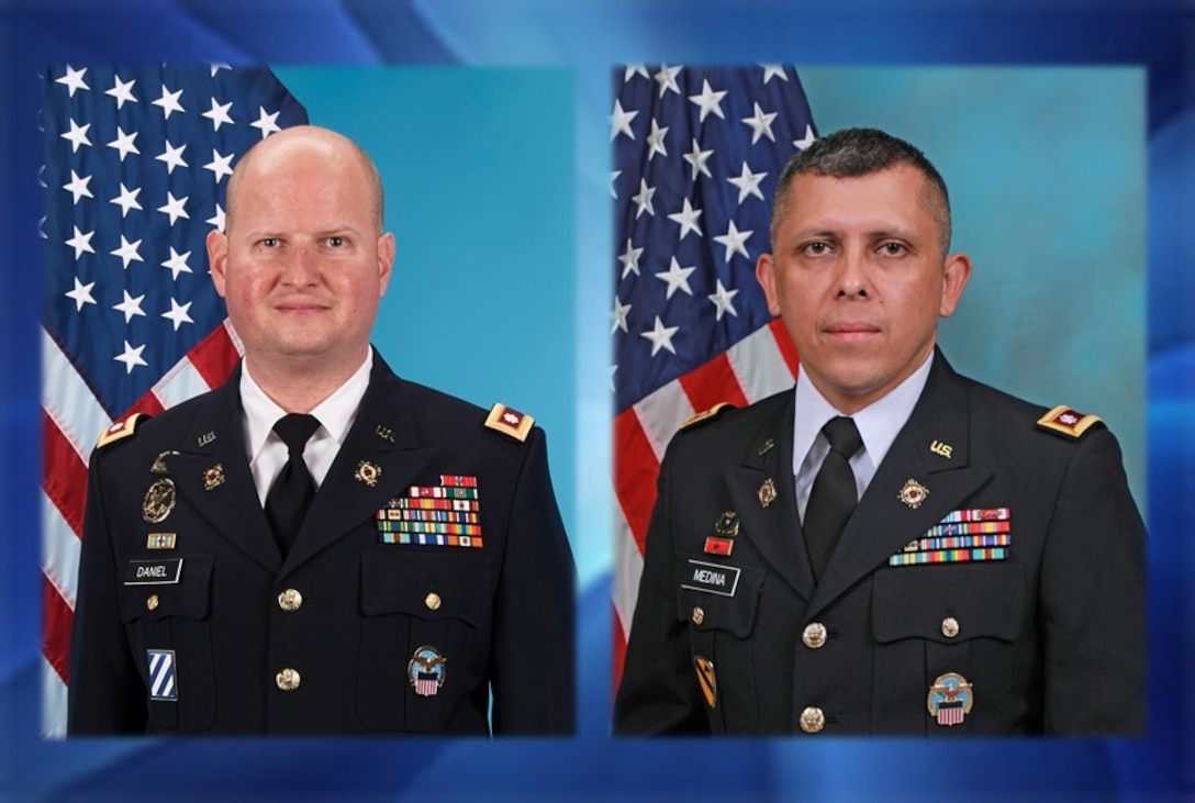 Army Lt. Col. Craig Daniel and Army Lt. Col. Jose Medina