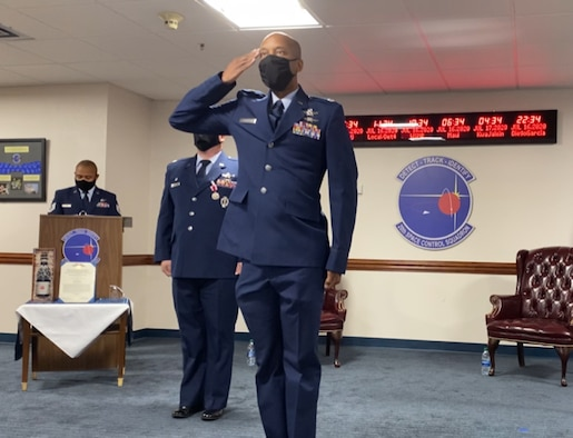 Lt. Col. Alfred Maynard accepts command of the 20th Space Control Squadron during a virtual ceremony 16 July, 2020 at Eglin Air Force Base, Fla. The mission of the 20 SPCS is to execute multiplatform, tactical space warfighting domain characterization, recognition, and responsiveness to achieve 21st Space Wing and United States Strategic Command intent. (Courtesy photo)
