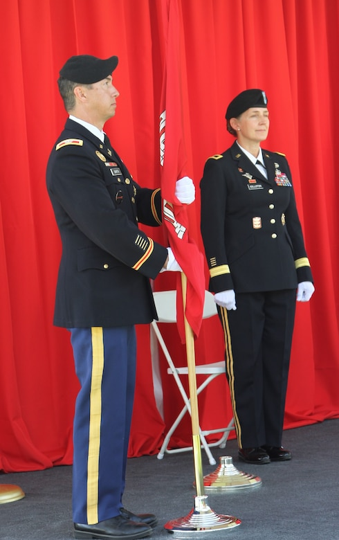 Col. Aaron Barta formally relinquishes command and departs his position as the 62nd commander of the U.S. Army Corps of Engineers Los Angeles District during a modified passing-of-the-colors at the district's change of command ceremony July 14, 2020,