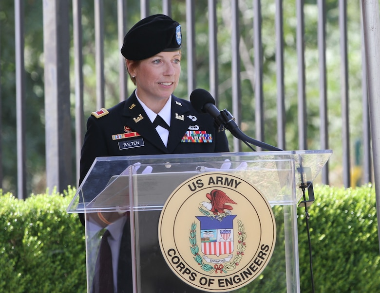 Col. Julie Balten, incoming commander of the U.S. Army Corps of Engineers Los Angeles District, speaks during the district's change of command ceremony July 14, 2020,