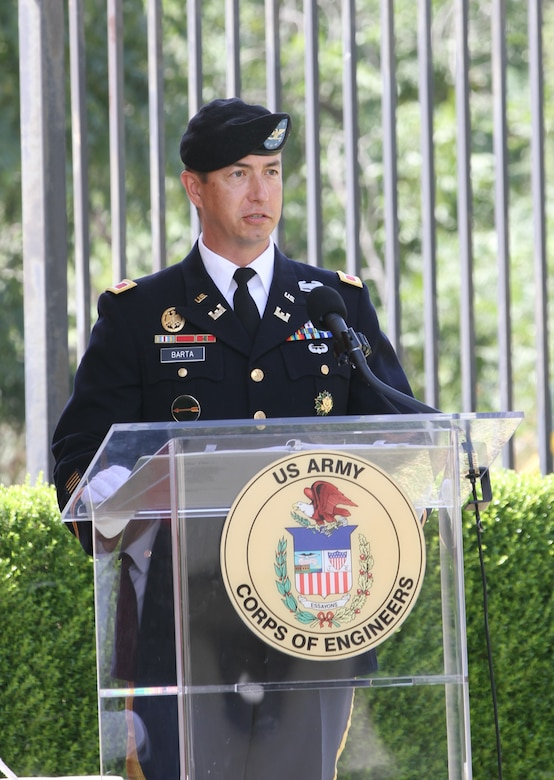 Col. Aaron Barta, outgoing commander of the U.S. Army Corps of Engineers Los Angeles District, speaks during the district's change of command ceremony July 14, 2020, at the South El Monte Baseyard near Los Angeles. (Photo by Stephen Baack, U.S. Army Corps of Engineers Los Angeles District Public Affairs)