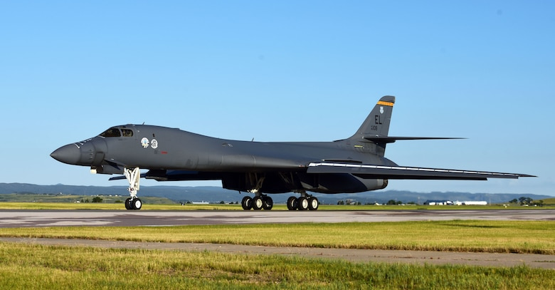 A B-1B Lancer assigned to the 37th Bomb Squadron taxis on the flightline at Ellsworth Air Force Base, S.D., July 16, 2020. Approximately 170 members and two B-1s deployed to Andersen Air Force Base, Guam, as part of a Bomber Task Force deployment, demonstrating the U.S. Indo-Pacific Command's continuing commitment to allies and partners in the region. (U.S. Air Force photo by Airman 1st Class Quentin K. Marx)