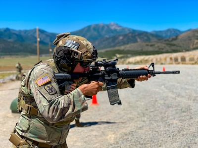 """Staff Sgt. Wayne """"Guido"""" Gray, California National Guard, engages targets in the Reflexive Fire match July 10, 2020, during the Marksmanship Advisory Council Region Seven Championships at Camp Williams, Bluffdale, Utah. Thirty-four Guard members from California, Colorado, Nebraska, Nevada, New Mexico and Utah spent three intense days in the mountains of Utah competing. Colorado took home the team championship title."""