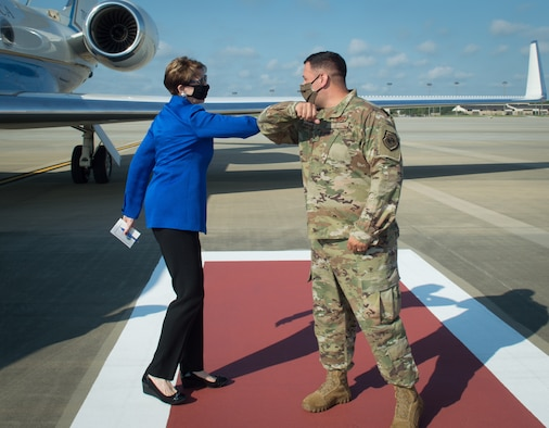 Secretary of the Air Force Barbara M. Barrett visited Pope Army Airfield, North Carolina on July 16 to discuss joint operations and the integral part the Air Force plays during global responses.