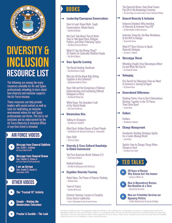 Resources available for Air and Space professionals intending to learn about how diversity and inclusion supports the Air Force mission.