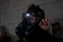 The chamber qualification is designed to build confidence in Marines using the M50 Joint Service General Purpose Mask and mission-oriented protective posture gear.